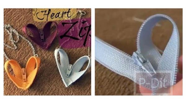รูป 1 ทำซิปรูปหัวใจ ร้อยเป็นสร้อยคอ