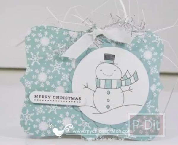 การ์ดคริสต์มาสน่ารักๆ ลายตุ๊กตาหิมะ