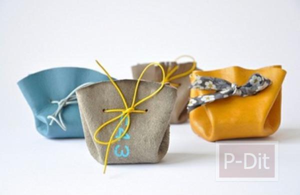 รูป 1 ประดิษฐ์ถุงใส่ของ จากเศษผ้า ใบเล็กๆ