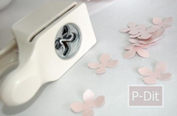 รูป 3 สอนทำดอกไม้น่ารักๆ จากกระดาษและหมุดปักผ้า