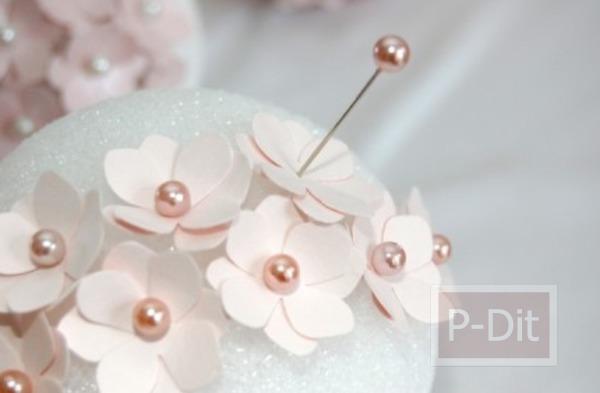รูป 5 สอนทำดอกไม้น่ารักๆ จากกระดาษและหมุดปักผ้า