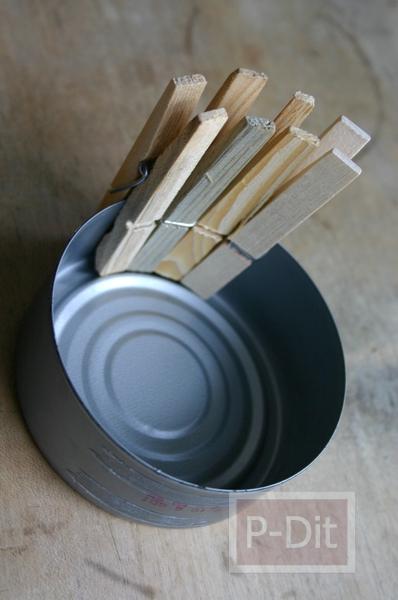 รูป 4 กระถางดอกไม้ กระถางเทียนไข ทำจากไม้หนีบผ้าและอาหารกระป๋อง