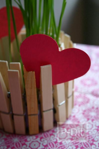 รูป 7 กระถางดอกไม้ กระถางเทียนไข ทำจากไม้หนีบผ้าและอาหารกระป๋อง