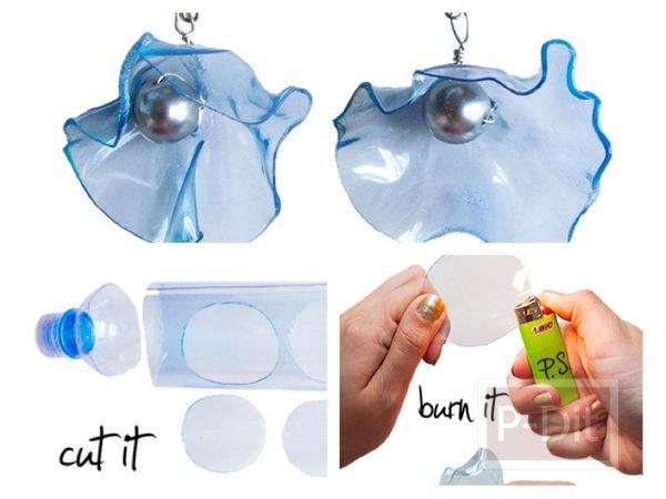 รูป 1 ต่างหู ทำจากขวดน้ำพลาสติก