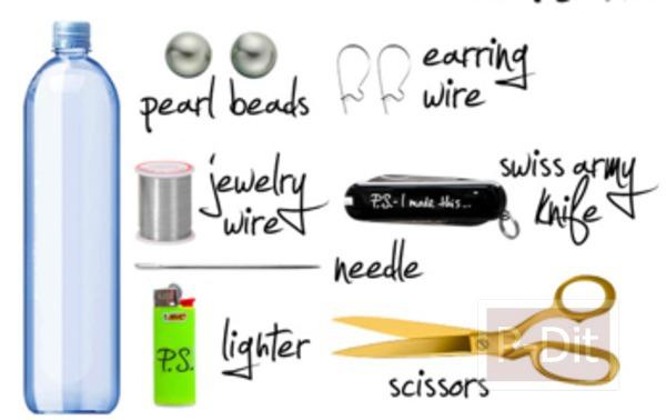 รูป 2 ต่างหู ทำจากขวดน้ำพลาสติก