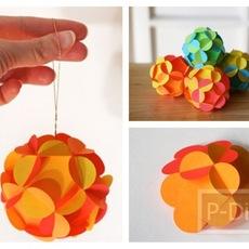 ลูกบอลกลมๆ สีสวย ทำจากกระดาษ