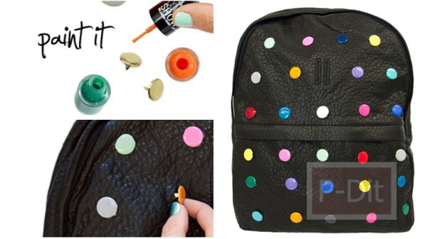 ตกแต่งกระเป๋าสะพาย สีดำ ให้มีลายจุดสีสดใส