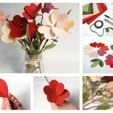 ดอกไม้ประดิษฐ์ ทำจากเศษผ้า
