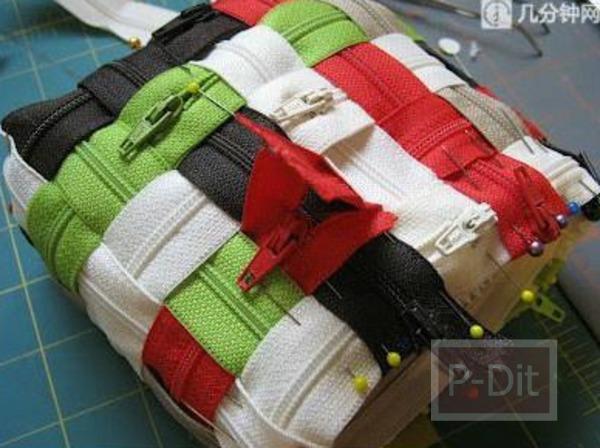 รูป 4 ทำกระเป๋าถือน่ารักๆ จากซิปหลากสี