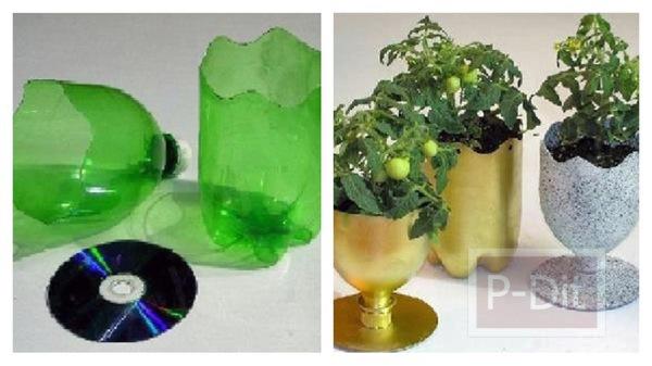 รูป 1 กระถางดอกไม้ ทำจากขวดน้ำพลาสติก