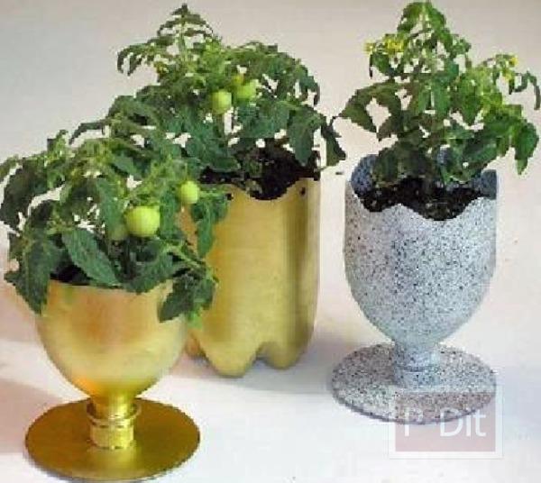 รูป 4 กระถางดอกไม้ ทำจากขวดน้ำพลาสติก