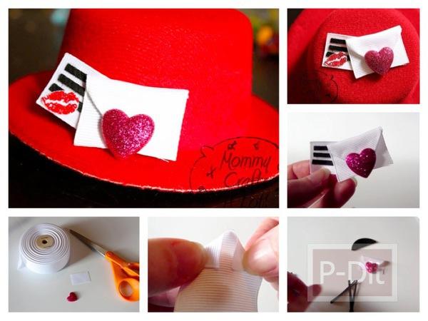 รูป 1 ของขวัญวันวาเลนไทน์ หมวกสีแดง พร้อมจูบและหัวใจ