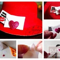 ของขวัญวันวาเลนไทน์ หมวกสีแดง พร้อมจูบและหัวใจ