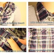 ปกเสื้อ ทำจากเสื้อเชิ๊ตตัวเก่าๆ