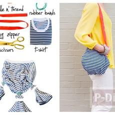 กระเป๋าสะพาย ทำจากเสื้อยืด