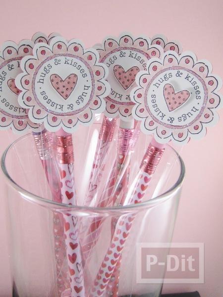 รูป 2 ของขวัญวาเลนไทน์ ดินสอสีชมพูลายหัวใจ