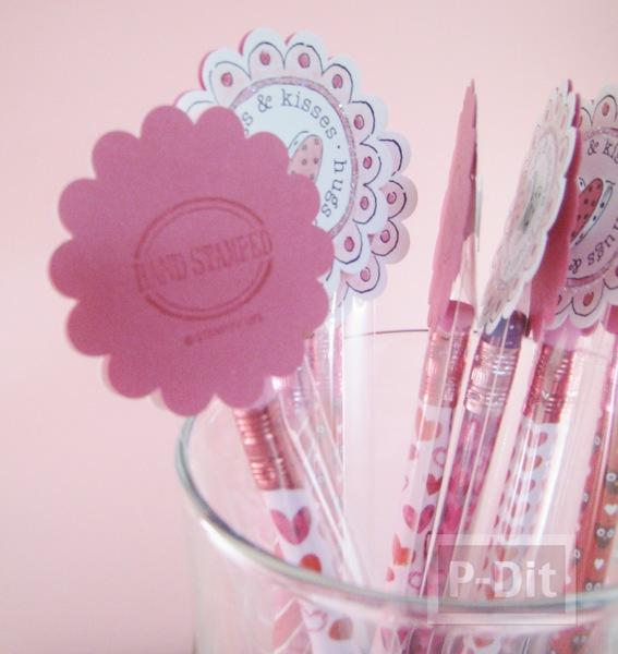 รูป 3 ของขวัญวาเลนไทน์ ดินสอสีชมพูลายหัวใจ