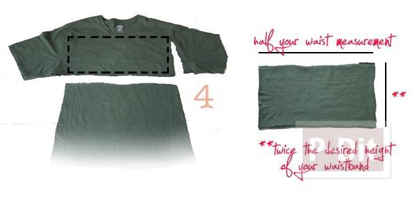 รูป 4 เปลี่ยนเสื้อยืด ให้เป็นกระโปรงสั้น