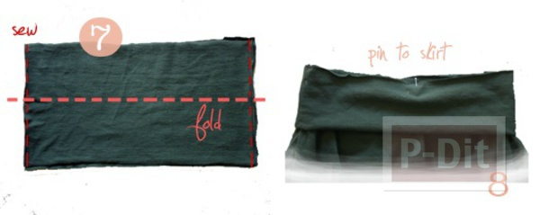 รูป 7 เปลี่ยนเสื้อยืด ให้เป็นกระโปรงสั้น