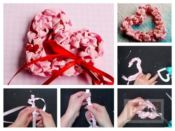 รูป 1 สอนทำหัวใจ จากโบว์สีชมพู