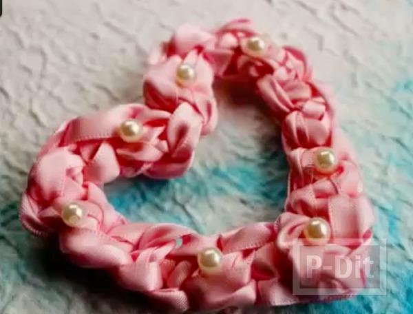 รูป 2 สอนทำหัวใจ จากโบว์สีชมพู