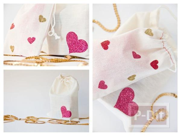 รูป 1 ตกแต่งถุงผ้าให้มีลายหัวใจ น่ารักๆ