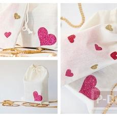 ตกแต่งถุงผ้าให้มีลายหัวใจ น่ารักๆ