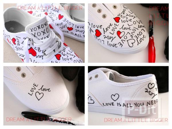 รูป 1 ตกแต่งรองเท้าให้มีลาย คำพูดน่ารักๆพร้อมรูปหัวใจ