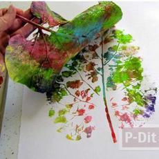 ลายใบไม้สีสวย ทำจากใบไม้แห้งทาสี