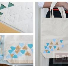 กระเป๋าผ้าลายสวย ตกแต่งด้วยสีน้ำ
