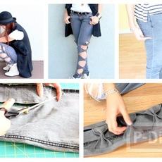 สอนตกแต่งกางเกงยีนส์ขายาว ลายโบว์สวยๆ