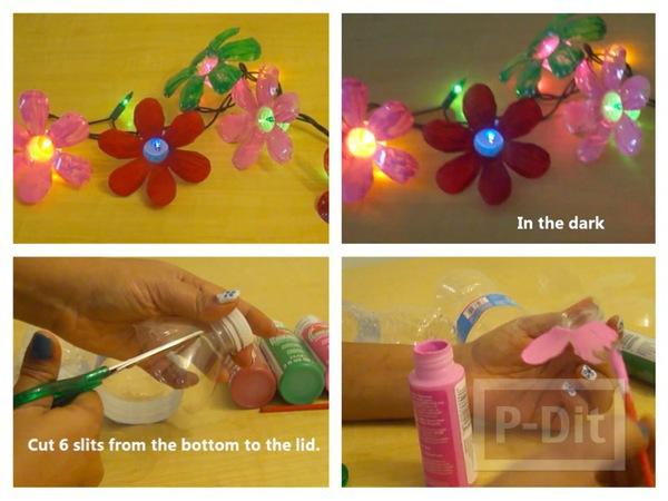 รูป 1 ทำดอกไม้พลาสติกจากขวดน้ำ ตกแต่งไฟกระพริบ