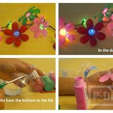 ทำดอกไม้พลาสติกจากขวดน้ำ ตกแต่งไฟกระพริบ