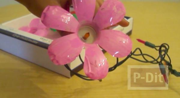 รูป 5 ทำดอกไม้พลาสติกจากขวดน้ำ ตกแต่งไฟกระพริบ
