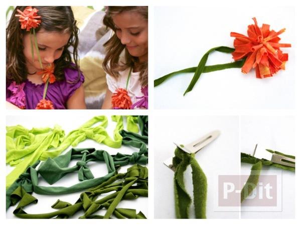 รูป 1 ทำดอกไม้ จากเสื้อยืด