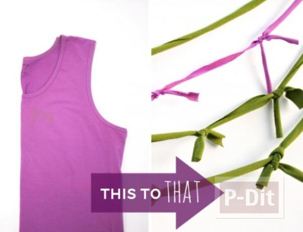 รูป 2 ทำดอกไม้ จากเสื้อยืด