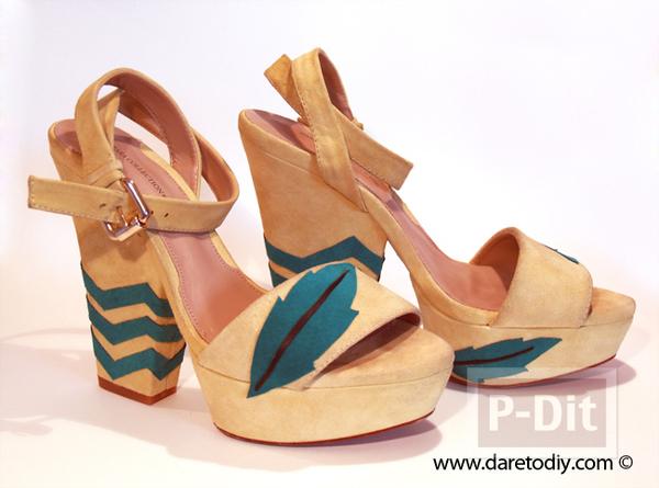 รูป 2 ตกแต่งรองเท้าคู่สวย ลายหยัก ลายใบไม้