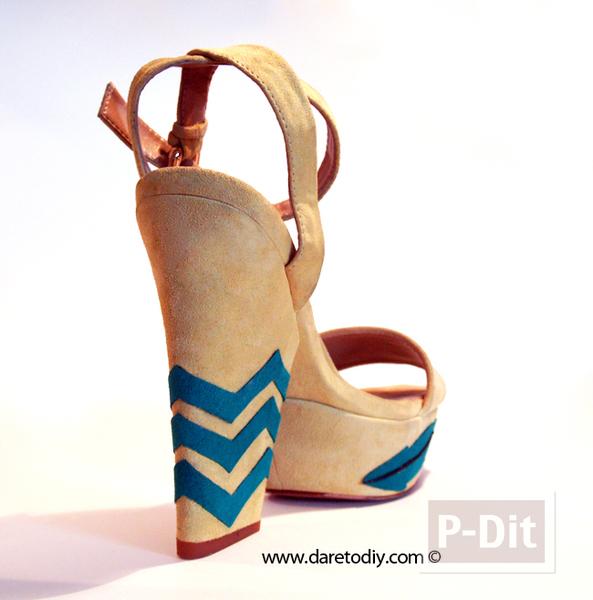 รูป 3 ตกแต่งรองเท้าคู่สวย ลายหยัก ลายใบไม้