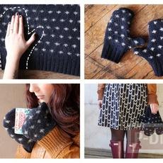 ถุงมือกันหนาว ทำจากเสื้อไหมพรม