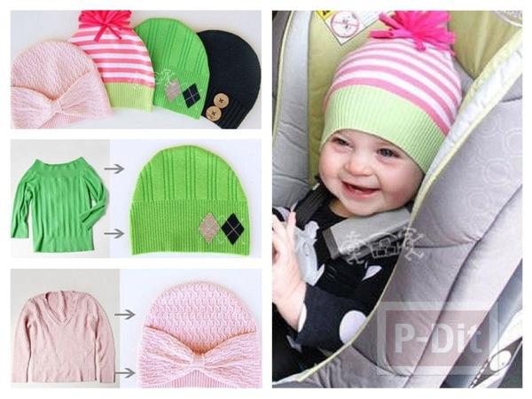 รูป 1 ทำหมวกให้เด็กน้อย จากเสื้อแขนยาวตัวเก่า