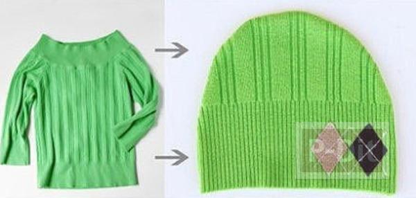 รูป 5 ทำหมวกให้เด็กน้อย จากเสื้อแขนยาวตัวเก่า
