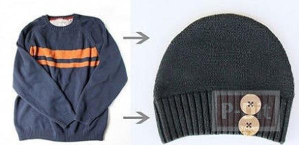 รูป 7 ทำหมวกให้เด็กน้อย จากเสื้อแขนยาวตัวเก่า