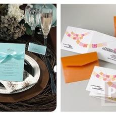 การ์ดเชิญงานแต่งงาน สีส้ม สีฟ้า