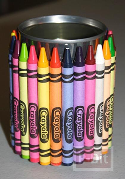 รูป 3 กล่องใส่ช้อนพลาสติก ตกแต่งด้วยสีเทียน สดใส
