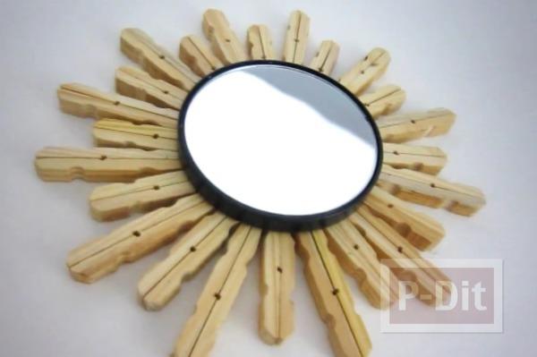 รูป 1 ประดับกระจกกลมเล็กๆ จากไม้หนีบผ้า
