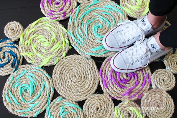 ทำพรมเช็ดเท้า จากเชือกและเศษผ้า