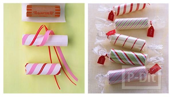 รูป 1 ห่อของขวัญลูกอม ขนมหวาน ด้วยแกนกระดาษทิชชู