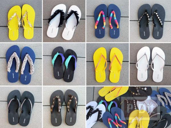 รูป 1 รองเท้าคีบ นำมาตกแต่ง ประดับสีสัน