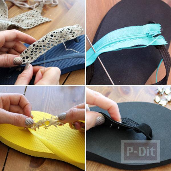 รูป 6 รองเท้าคีบ นำมาตกแต่ง ประดับสีสัน