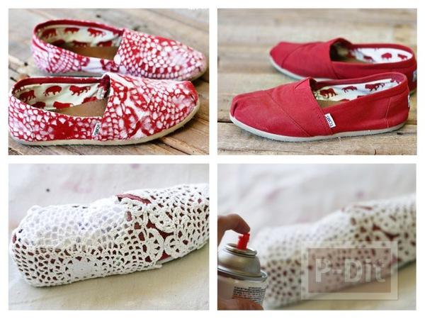 รูป 1 รองเท้าพ่นสี ลายดอยลี่